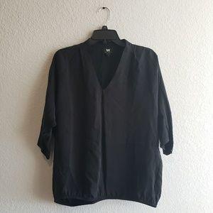 W By Worth | Black Quarter Sleeve Cupro Blouse